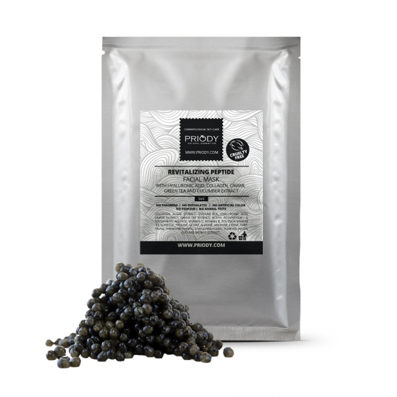 PRIODY - Revitalizační liftingová peptidová pleťová maska s HA, kolagenem, kaviárem, zeleným čajem a okurkovým extraktem (5ks)